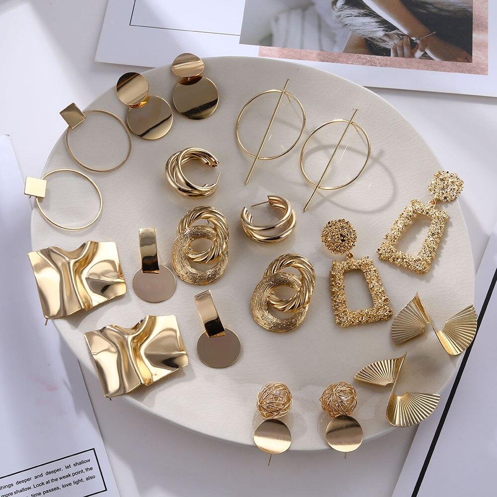 17IF Trendy Gold Stud Earrings For Women Statement Studs Ear Rings Bohemian Dangle Geometric Fashion Korean 2020 Earings