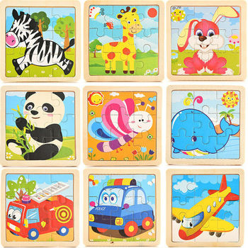2019 Newest Hot 17 Styles Development Learning Color Shape Baby Toys 3D Wooden Puzzle Cartoon Educational Kids Toy image