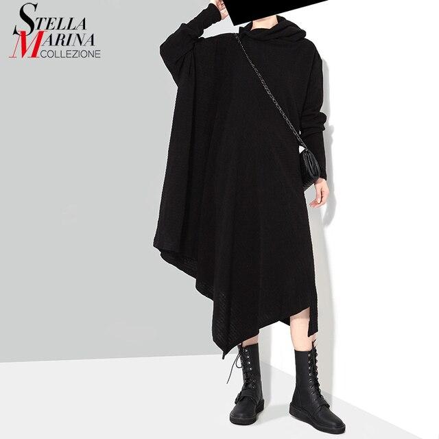 מוצק שחור אישה סתיו חורף ארוך אסימטרית סרוג סוודר שמלה מלא שרוול בתוספת גודל למתוח גבירותיי שמלת Robe סגנון 1803