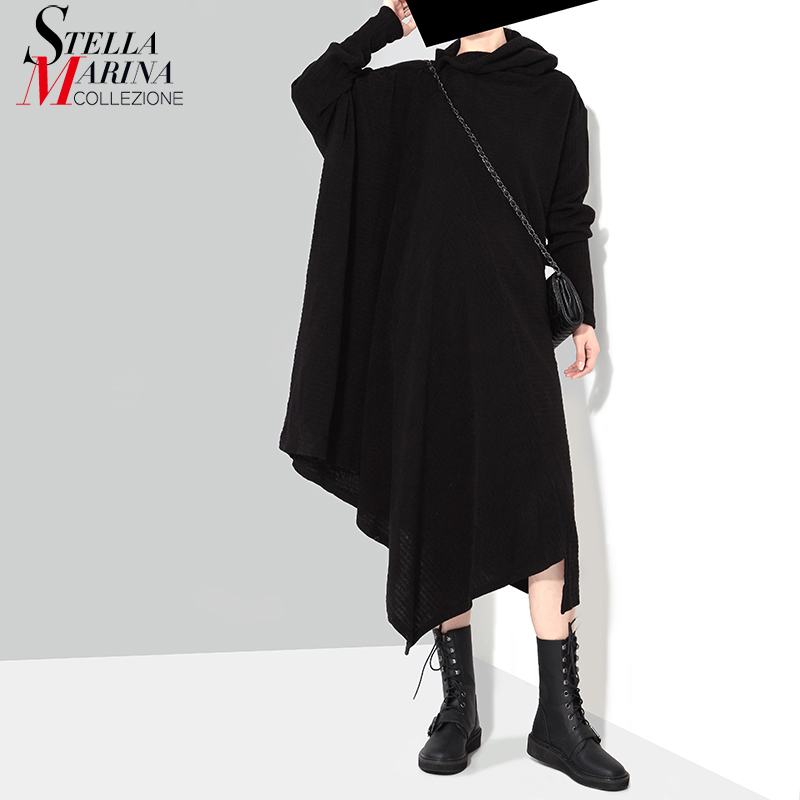 New 2019 Korean Style Women Winter Black Knitted Sweater Dress 