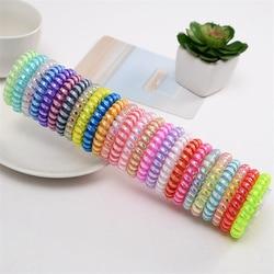 Bracelets élastiques pour cheveux pour filles, 10 pièces/lot, Bracelet de téléphone couleur bonbon, coiffure, porte-queue de cheval froissé