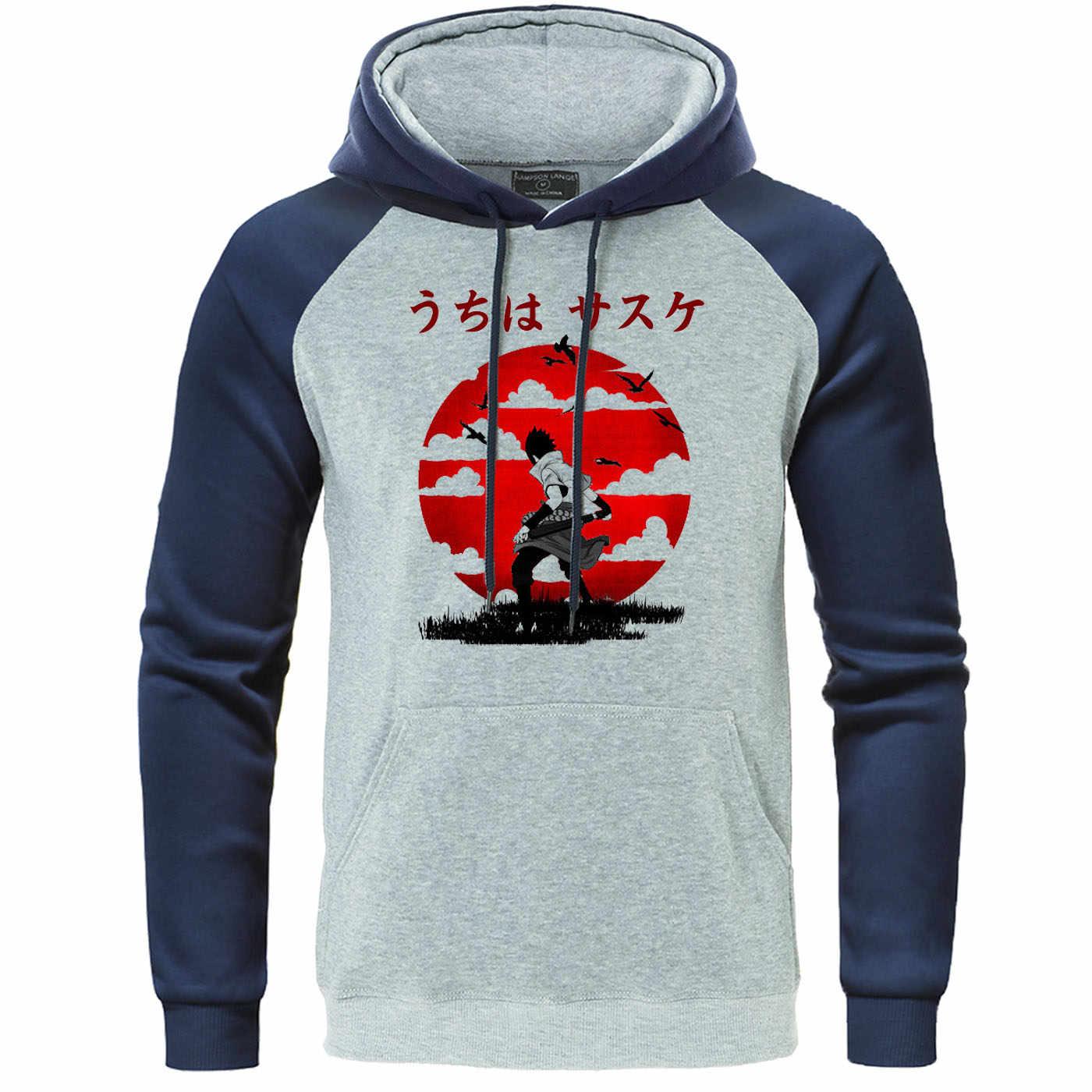 Japan Anime Hoodies Naruto Uchiha Sasuke Itachi Raglan Pullover Samurai Sweatshirt Harajuku Streetwear Kleidung Männer Casual Hoody