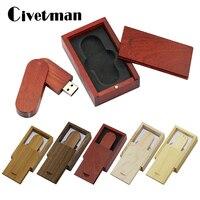 Holz USB-Stick Ahorn Holz Drehbare Rechteck mit Box 128GB 64GB 32GB 16GB 8GB 4GB Pendrives 256GB USB 2.0 Memory Stick