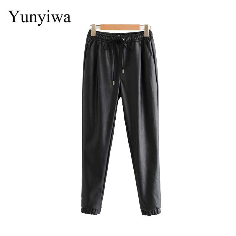 Women Chic PU Leather Pants Solid Elastic Waist Drawstring Tie Pockets Female Basic Elegant Trousers