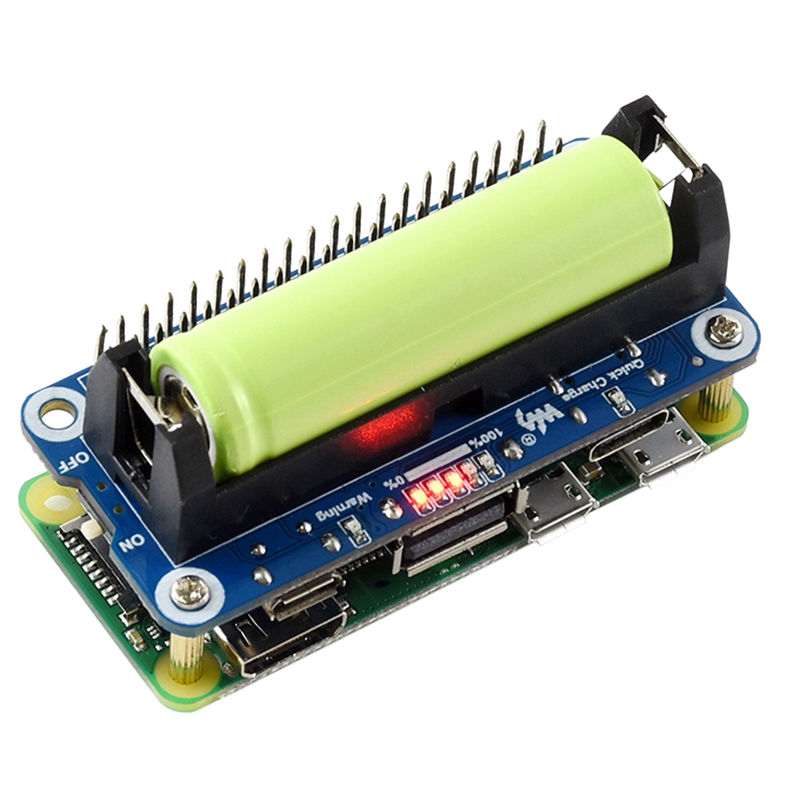 Waveshare Li-Ion Battery HAT For Raspberry Pi, 5V Regulated Output, Bi-Directional Quick Charge