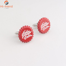 2017 Newest Design Nuka Cola Men Cufflinks High Quality Red Color Cuff Links for Mens Shirt Silver Plated Buttons