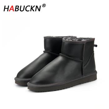 HABUCKN 2020 nowe wodoodporne oryginalne skórzane zimowe buty z futerkiem ciepłe buty damskie klasyczne buty śnieżne damskie buty Lady buty do kostki tanie i dobre opinie Prawdziwej skóry Skóra bydlęca ANKLE Bling Stałe H-X-0005 Dla dorosłych Mieszkanie z Buty śniegu Faux futro Okrągły nosek