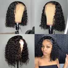 13x4 Closure Wig Mongolian Kinky Curly Remy Human Wigs For Black Women Fast Shipping 13x6 Short Hair Bob Lace