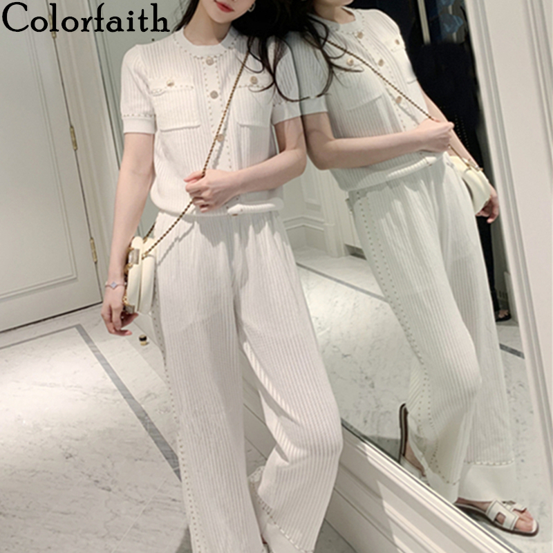 Colorfaith 2020 New Spring Summer Woman 2 Piece Sets Matching Pants Knitting Casual Elastic Waist Buttons Pockets Suits WS6098