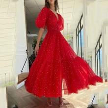 Elegant Red Starry Tulle Prom Dresses Half Puff Sleeve Split Pleats V Neck A Line Formal Evening Party Vestidos De Fiesta