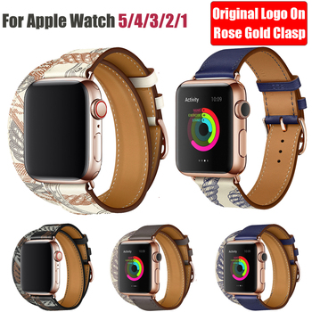 цена Rose Gold Buckle Strap for Apple Watch Band 38MM 42MM 44MM 42MM Swift Leather Single Tour Loop Bracelet for iWatch Series 5 4 3 онлайн в 2017 году