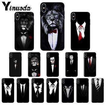 Yinuoda Man Suit Shirt Tie TPU Soft Silicone Phone Case Cover for Apple iPhone 8 7 6 6S Plus X XS MAX 5 5S SE XR Mobile Cases wood floral soft silicone edge mobile phone cases for apple iphone x 5s se 6 6s plus 7 7plus 8 8plus xr xs max case