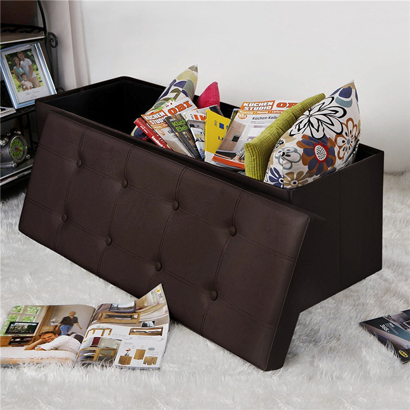 Extra Large Waterproof PVC Leather Sundries Storage Bin With Lid Living Room Sofa Stool Foot Stool Lobby Shoe Bench
