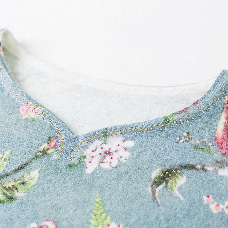 YISU מודפס סוודר נשים 2019 סתיו חורף סוודר אופנה פרחוני ציפור דפוס בסוודרים מקרית Loose ארוך שרוולים סוודר