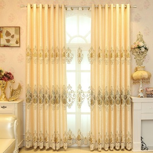 Estilo europeo ligero de lujo es adecuado para sala de estar dormitorio cortina bordada dorada bordado con corona cortina bordada pantalla de ventana