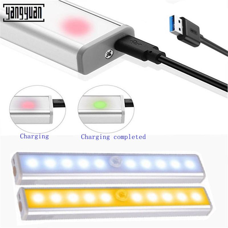 DC5V détecteur de mouvement LED cuisine sous l'armoire lumière chevet escaliers armoire nuit sécurité lampe USB Charge de puissance portabilité lampe