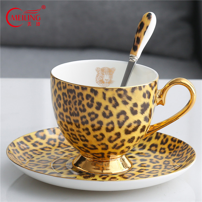 Luxury Porcelain Leopard <font><b>Coffee</b></font> <font><b>Cup</b></font> <font><b>Set</b></font> Bone China Tea <font><b>Cup</b></font> and Saucer Kitchen Tableware Personalized <font><b>Cup</b></font> Gifts For Boss Mom Girl image