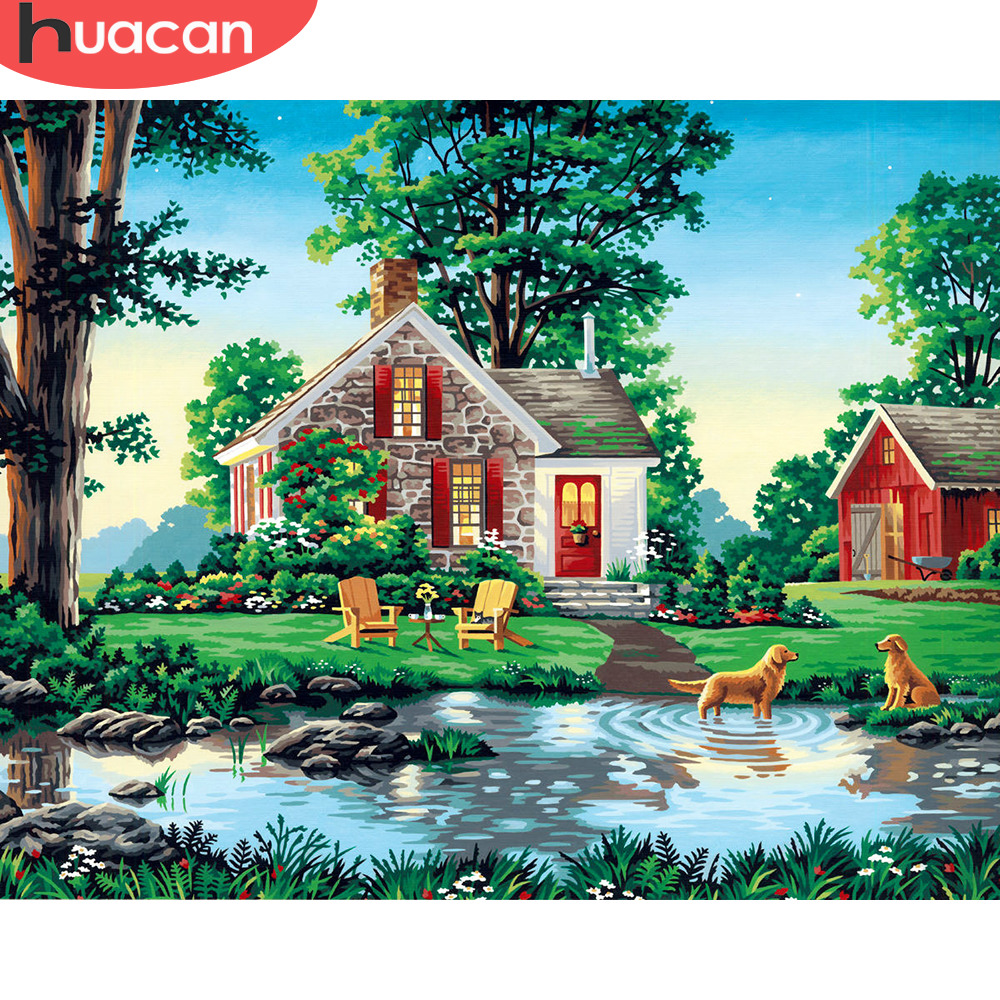 HUACAN Pictures By Numbers Scenery DIY Oil Painting By Numbers Landscape Kits Home Decor Drawing Canvas HandPainted
