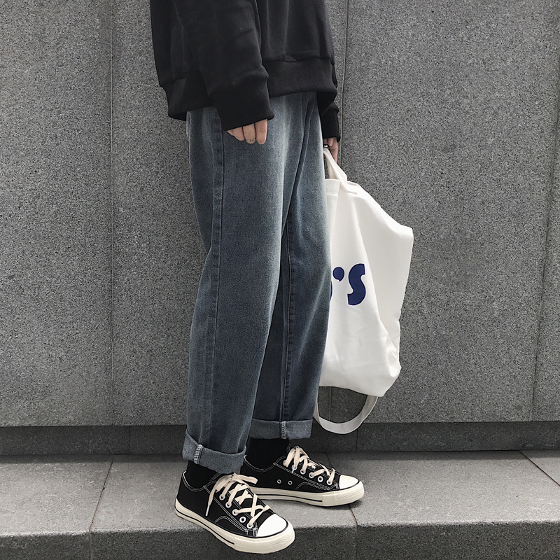 Autumn And Winter New Style Korean-style CHIC Dark Lines Versatile Washing Jeans Hong Kong Style Fashion Man Loose Straight Jean