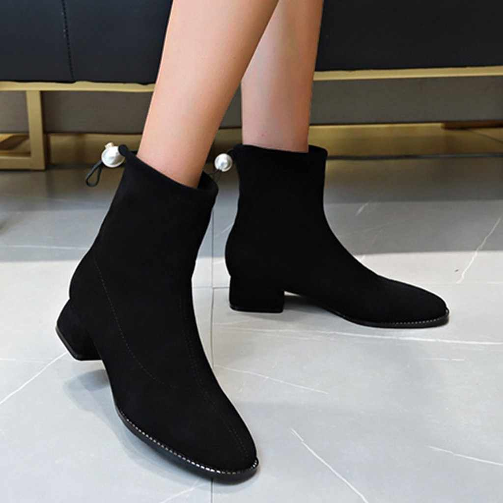Martin รองเท้าผู้หญิงแพลตฟอร์ม Martins ฤดูหนาวผู้หญิงลื่นบนยืด Casual Elegant รองเท้า Hoof Retro Retro Pearl Wedge Snow รองเท้า
