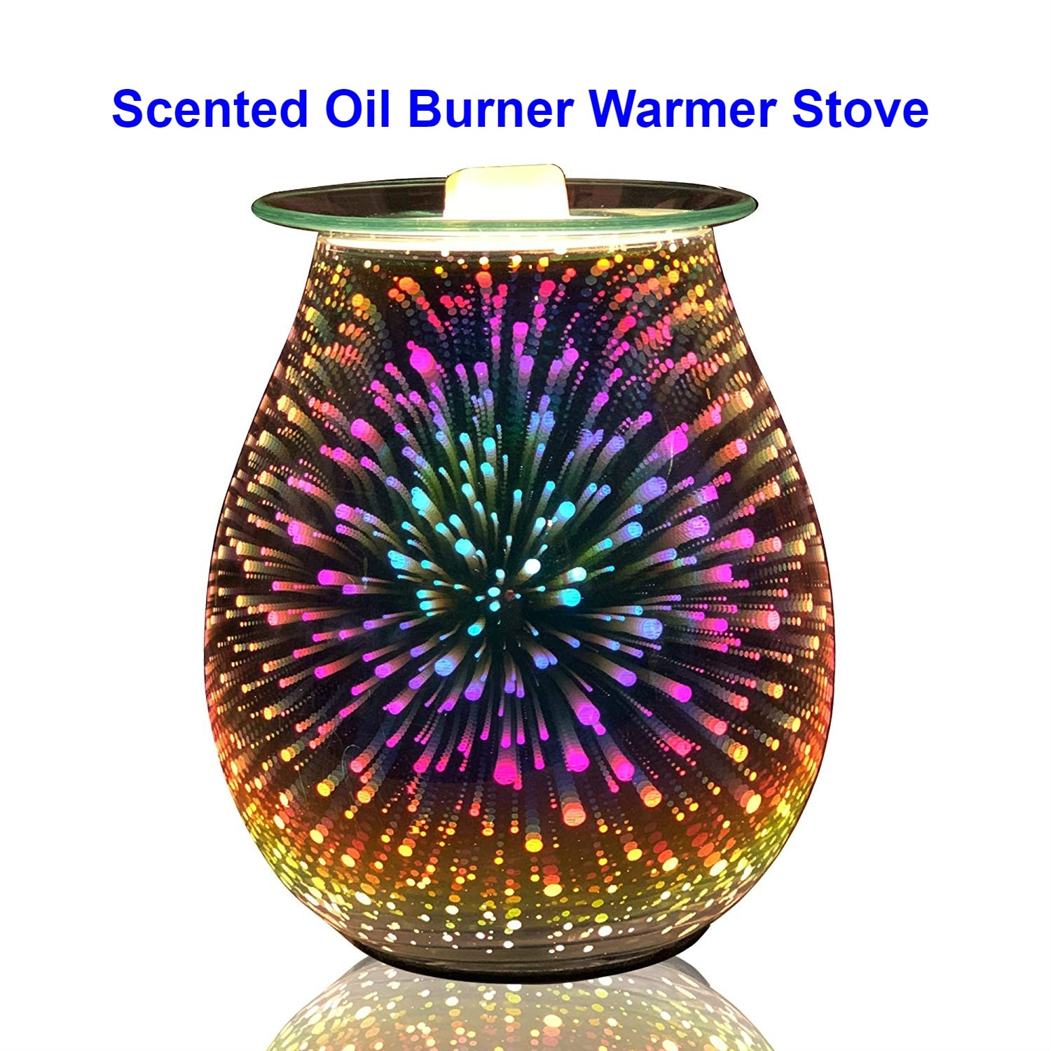 Essential Oil Diffuser  Electric Candle Warmer Glass Tart Burner 3D Effect Night Light Wax Melt Warmer for Home Office Bedroom Humidifiers     - title=