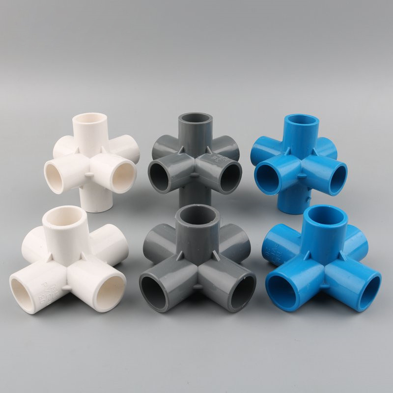 3D Three-dimensional 5 Way 6 Way 20mm 25mm 32mm PVC Tube Adapter Water Pipe Connector Garden Irrigation Fitting DIY Shelf Joints image