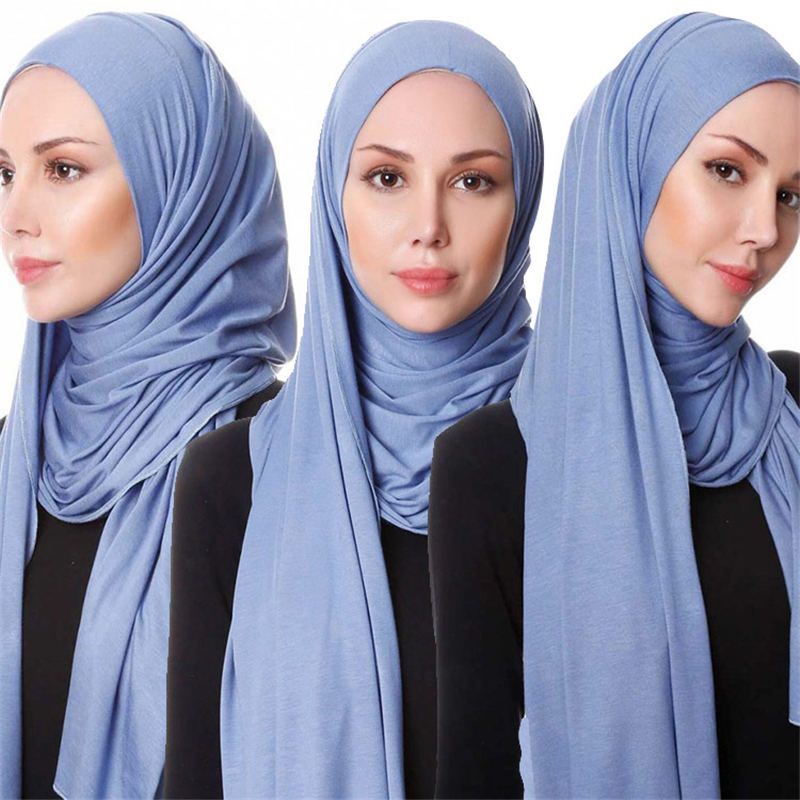 2020 Muslim Stretch Jersey Scarf Hijab Islamic Cotton Headscarf Foulard Femme Arab Wrap Head Scarves Malaysia Hijab Scarf