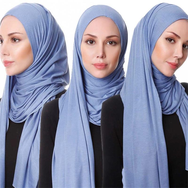 2020 Muslim Stretch Jersey Scarf Hijab Islamic Cotton Headscarf Foulard Femme Arab Wrap Head Scarves Malaysia Hijab Scarf