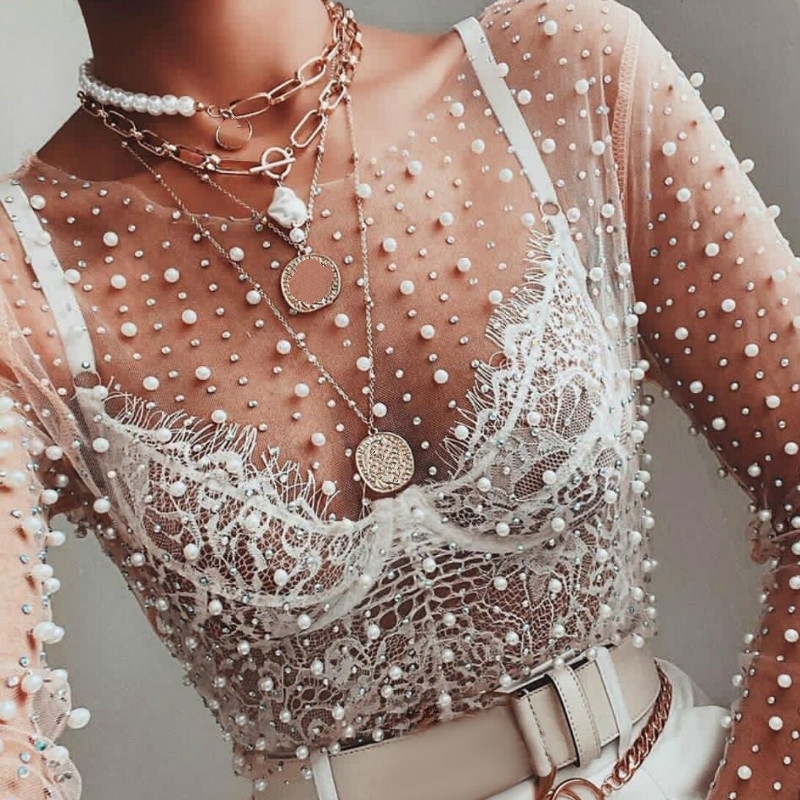 Sexy See Through Thin Tulle Blouses With Beading Long Sleeve Clubwear Night Date Out Tops Transparent Mesh Female Ladies Fashion