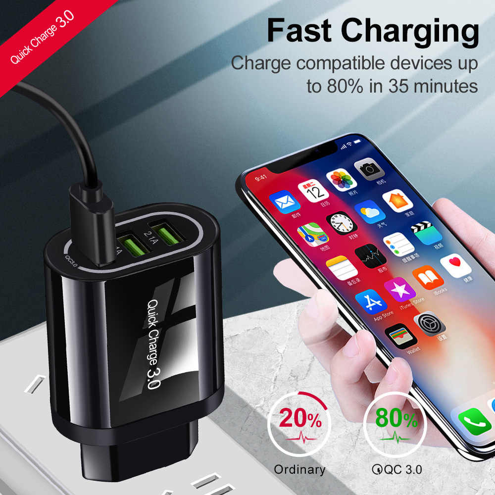 Olaf 18W Quick Charge 3.0 3 Port USB Charger QC3.0 Cepat Charger UNTUK Samsung S10 Xiaomi Redmi Note 7 iPhone X Dinding Charger Telepon