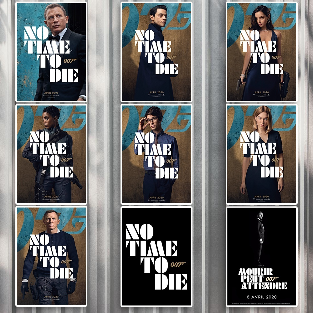 2020 No Time to Die 007 James Bond 25th / Never Dream of Dying / Shatterhand Daniel Craig Film Poster Wall Art Stickers 42x30cm image