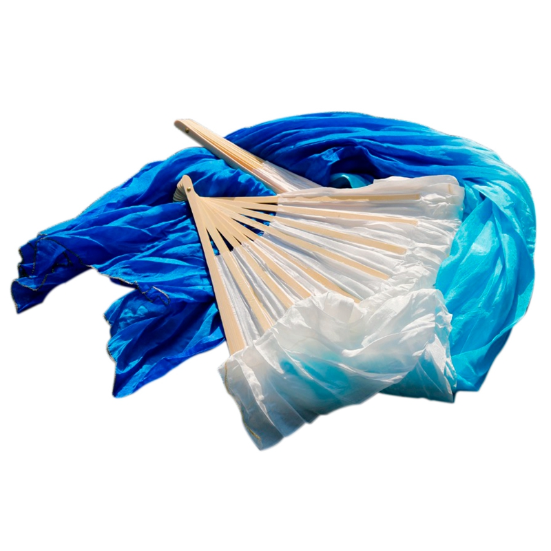 Silk Chinese Belly Dance Fan Veil Handmade in White and Blue