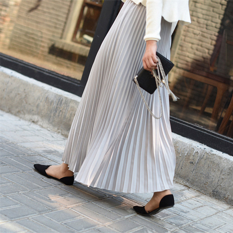 2019 Women Casual Chiffon Maxi Skirt Spring Autumn Pleated Multi Colors Fashion Flared High Waist Female Long Skirts