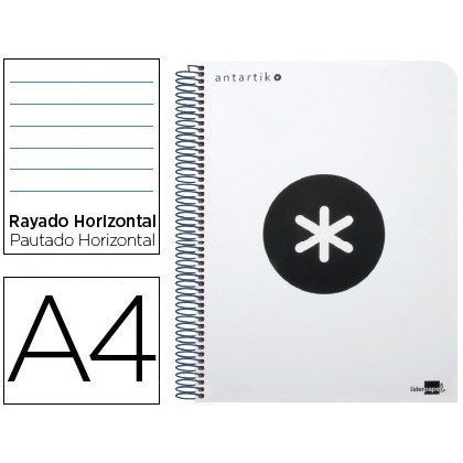 SPIRAL NOTEBOOK LIDERPAPEL A4 MICRO ANTARTIK PLASTIC CAP 120H 100 GR HORIZONTAL 5 BANDS 4 DRILLS WHITE COLOR