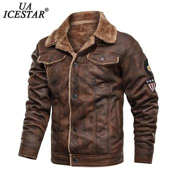 UAICESTAR Winter Leather Jacket Coat men Motorcycle Fashion Fur Collar Vintage Jacket Casual High Quality Locomotive Men Coat maplesteed vintage motorcycle jacket men leather jacket 100