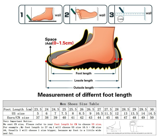 men shoes size chart