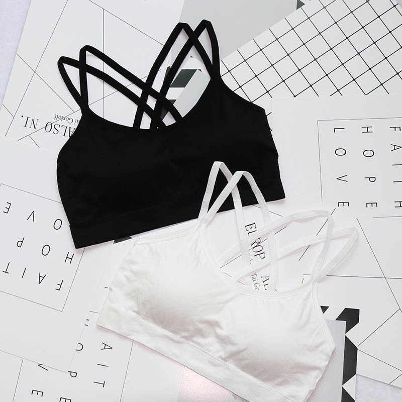 Women Sport Bra Solid Color Cross Strap Beautiful Black Breathable Tube Tops Yoga Bras Fitness Accessories Bralette Workout Bra