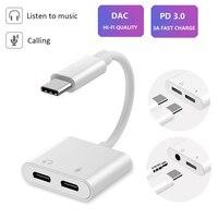 Dual USB Typ C Splitter DAC 2 In 1 Audio Schnelle Ladung Typ C Zu 3,5mm Kopfhörer Adapter für google Pixel Huawei IPad Pro 2018