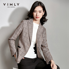 Vimly Vintage Women Plaid Suit Blazer Spring Autumn Fashion