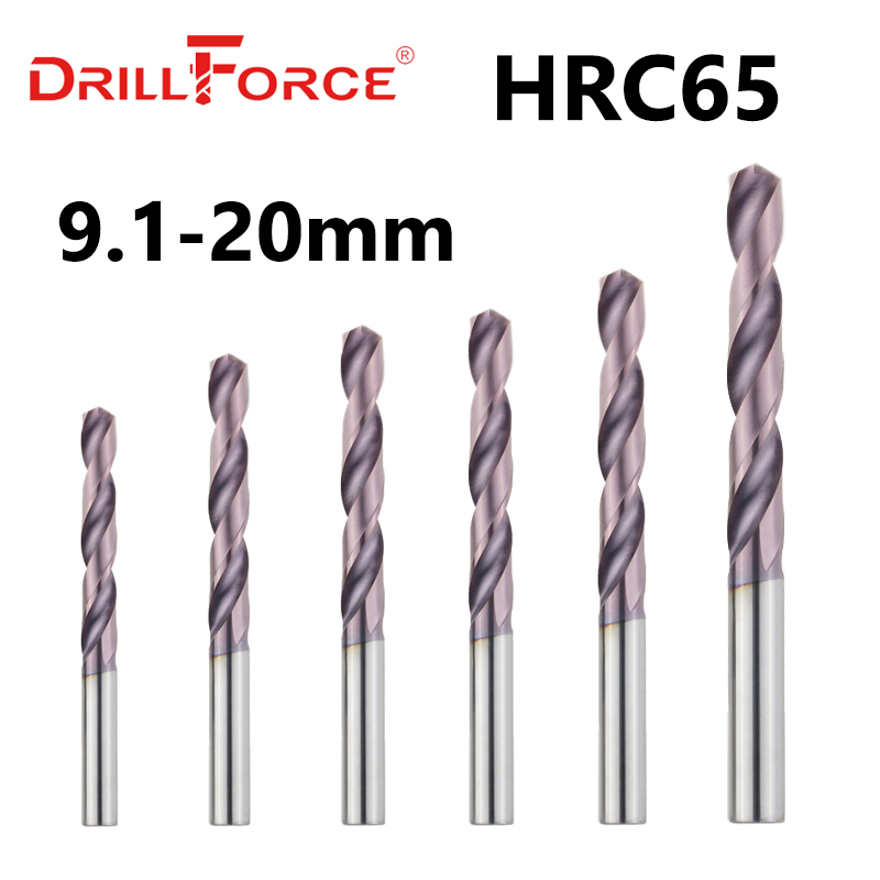Drillforce 1PC Dia. 9.1-20.0mm HRC65 Tungsten Solid Carbide Drill Bits Twist Drill Bit For Hardened Alloy Tool Stainless Steel
