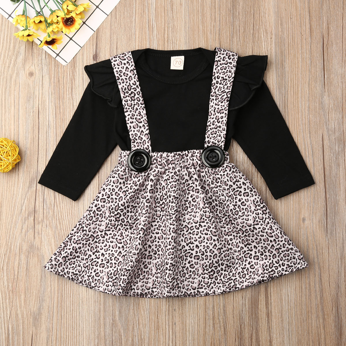 Pudcoco Newborn Baby Girl Clothes Solid Color Fly Sleeve Romper Tops Leopard Print Strap Mini Skirt 2Pcs Outfits Cotton Clothes