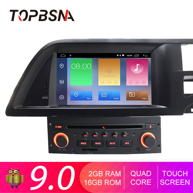 TOPBSNA 1 Din Android 9.0 Car DVD Player For Citroen C5 Multimedia GPS Navigation Radio Mirror Link WIFI Quad Cores GPS Navi RDS