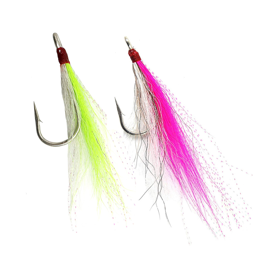 4 BUCKTAIL TEASERS CRYSTAL FLASH BUCK TAIL TEASER FLUKE SEA BASS RIG FLY CHART