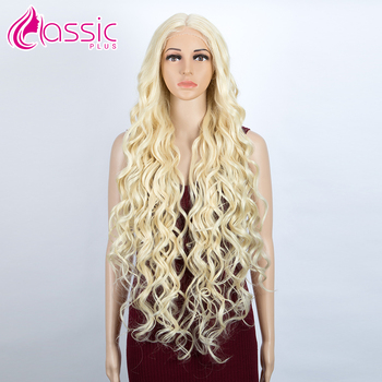 Synthetic Lace Front Wig 42 inch Long 613 Blonde Deep Wave Wig Cosplay Synthetic Wig For Black Women Heat Resistant Classic Plus elegant blonde side bang capless long big wave heat resistant synthetic wig for women