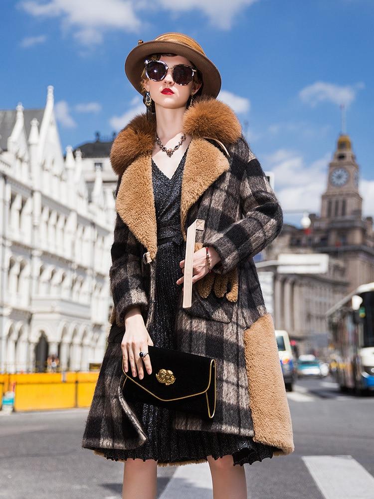 Shearling Sheep Real Fur Coat Female Fox Fur Collar Wool Coats Winter Jacket Women Woolen Down Jackets Chaqueta Mujer MY S En S