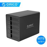 ORICO 5 Bay 3.5'' USB3.0 HDD Docking Station With 150W Internal Power Adaper Support 80TB UASP Aluminum SATA to USB 3.0 HDD Case