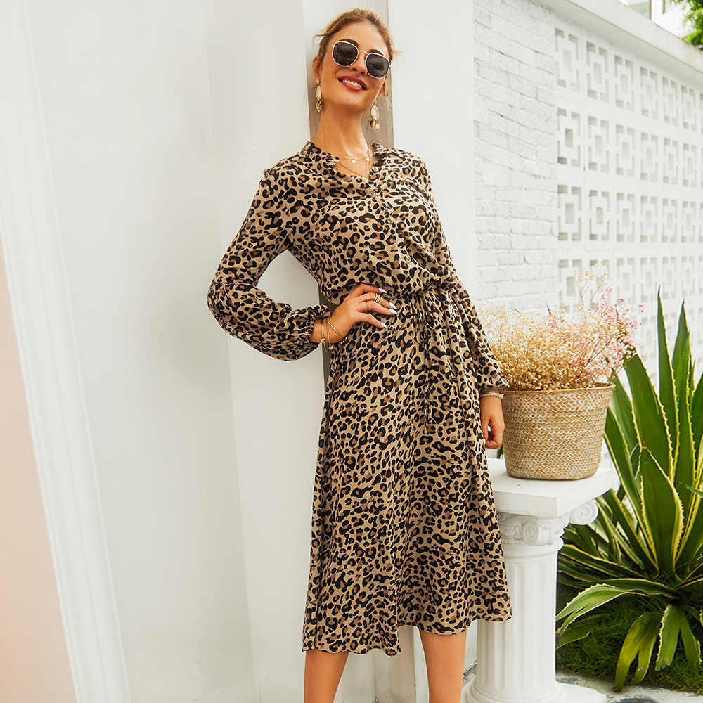 Новинка осени 2019, женское платье с леопардовым принтом, стильное платье с длинным рукавом, v-образный вырез, высокая талия, шнурок на поясе, недорогое платье для женщин