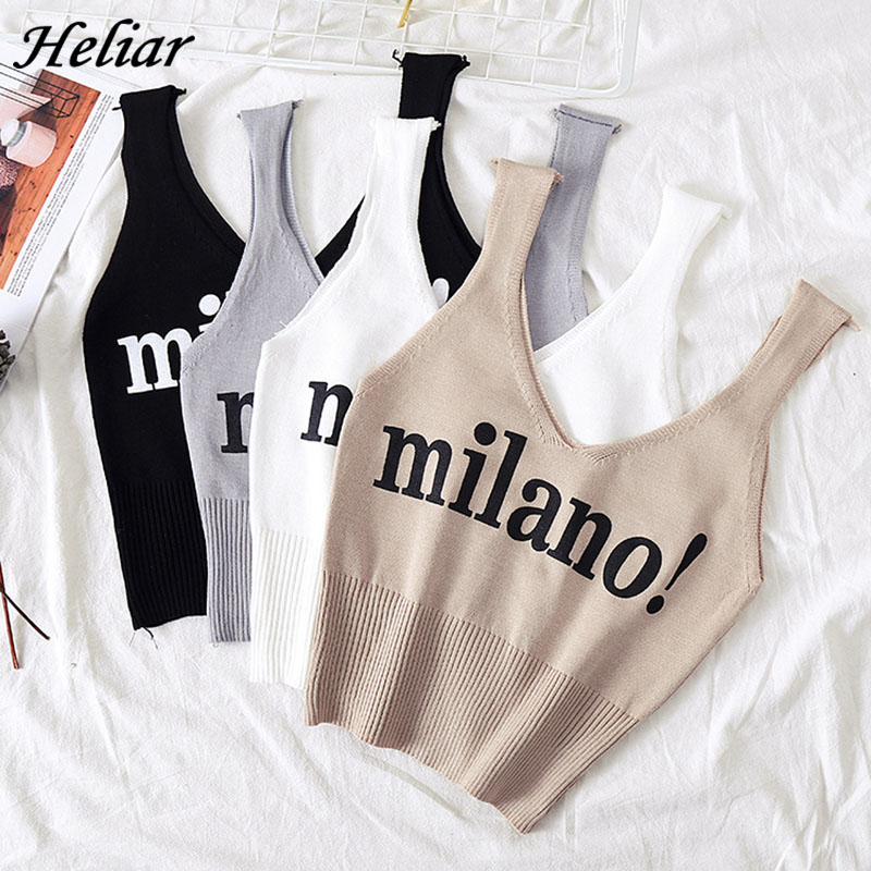 HELIAR Tops Women Knitted Sexy Crop Tops V-Neck Lettering milano! Camis Lady Slim Night Club Crop Top Summer Crop Tops Women(China)