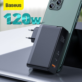 Baseus GaN Charger 120W USB C PD Fast Charger QC4.0 QC3.0 Quick Charge Portable Phone Charger ForMacbook ForiP For Laptop Tablet
