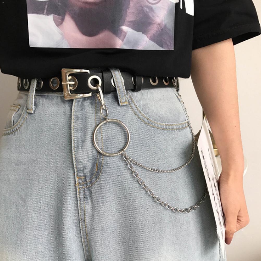 New Style PU Leather Women Belt Punk Rock Black Metal Hole Chain Belt Fashion Female Ladies Slim Waistband 100cm